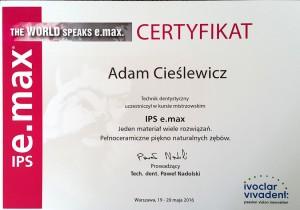 Certyfikat z kursu Ivoclar Paweł Nadolski